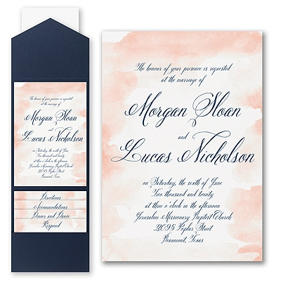Romantic Watercolor - Invitation with Pocket