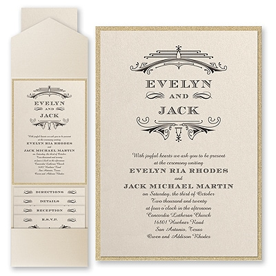 Elegant Deco - Invitation with Pocket and Backer