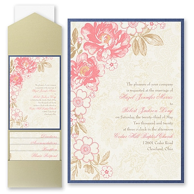 Decorative Floral - Invitation with Pocket and Backer