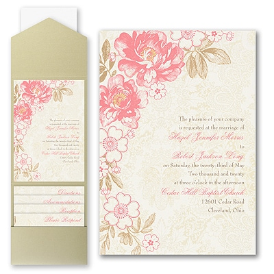 Decorative Floral - Invitation with Pocket