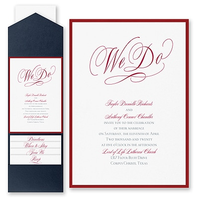 Vows of Love - Invitation with Pocket and Backer