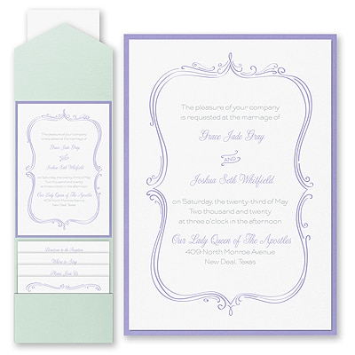 Whimsical Elegance - Invitation with Pocket and Backer