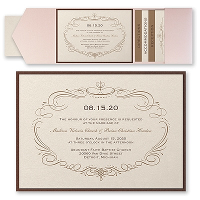 Elegant Swirls - Invitation with Pocket and Backer