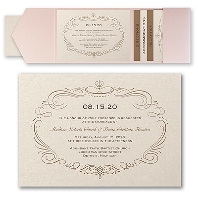 Elegant Swirls - Invitation with Pocket