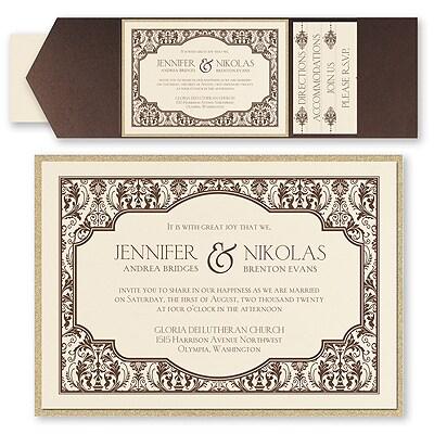 delightful damask invitation with pocket and backer wedding