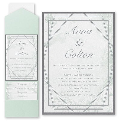 Dazzling Geometric - Invitation with Pocket and Backer