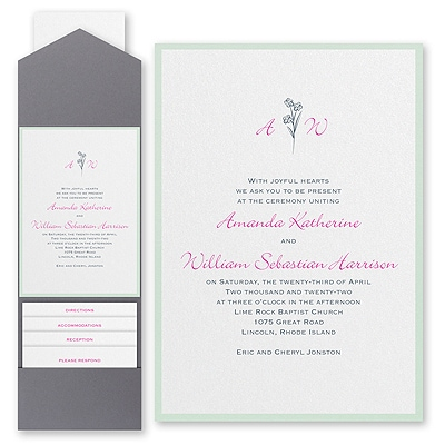 Floral Monogram - Invitation with Pocket and Backer