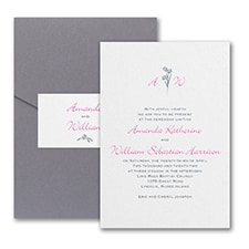 Floral Monogram - Invitation with Pocket