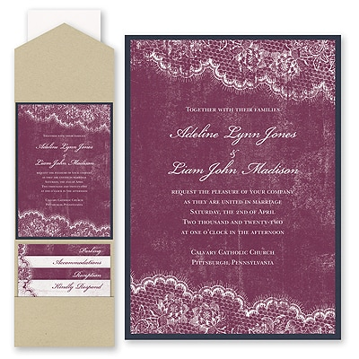 Timeless Lace - Invitation with Pocket and Backer