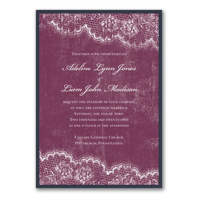 Timeless Lace - Invitation with Backer