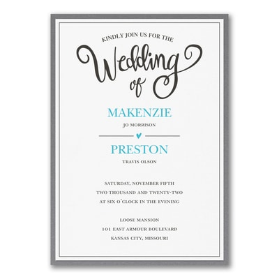 Wedding Whimsy Invitation with Backer