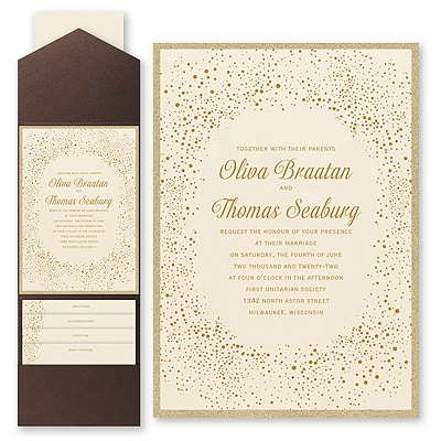 Champagne Delight - Invitation with Pocket and Backer