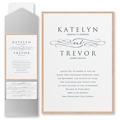 Sophisticated Script - Invitation with Pocket and Backer
