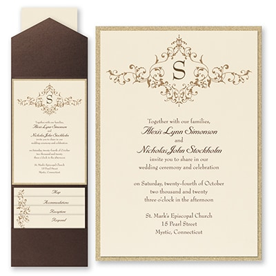 French Floret - Invitation with Pocket and Backer