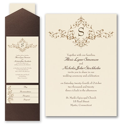 French Floret - Invitation with Pocket