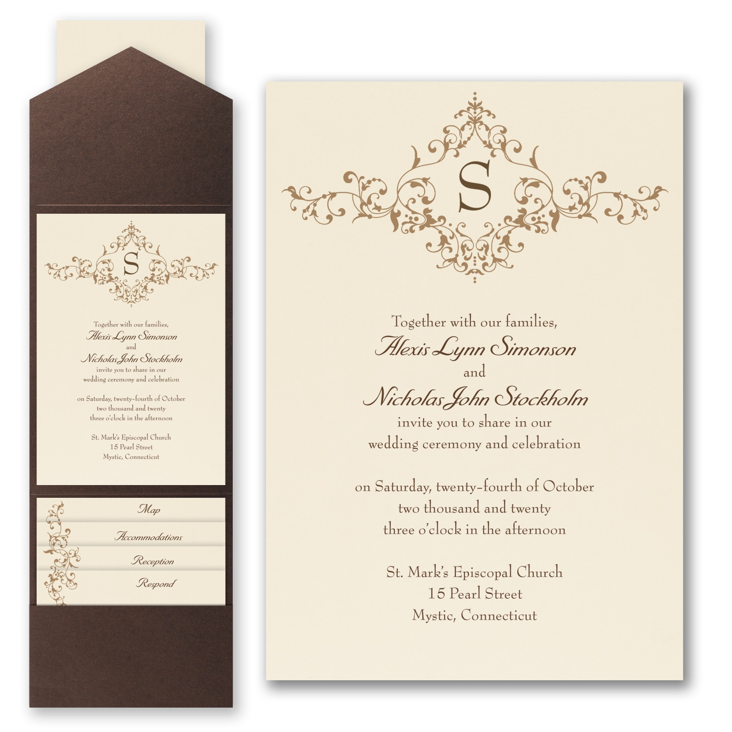 French Floret - Invitation with Pocket > Pockets | Carlson Craft ...