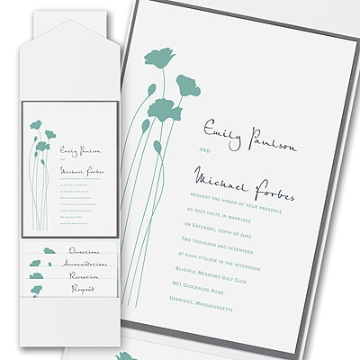 Thermo Blooming Blossoms - Layered Pocket Invitation