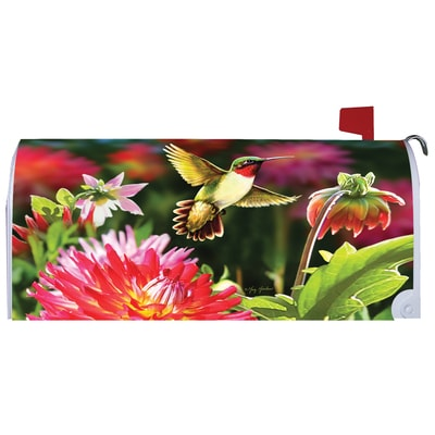 Hummingbird Dahlias Mailbox Cover