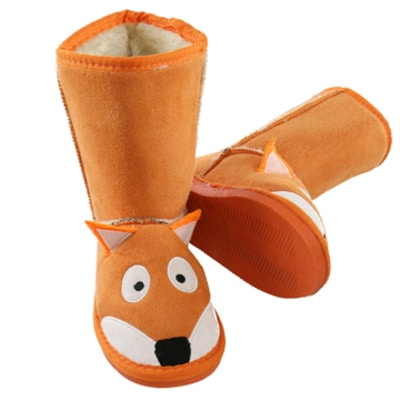 Orange Fox Youth Slipper Boots