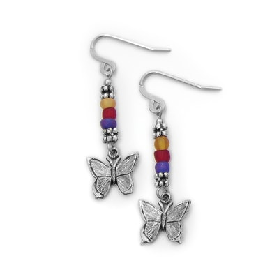 Recycled Glass Butterfly Earrings