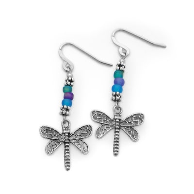 Recycled Glass Dragonfly Earrings