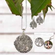 Tree Locket and Earring Set