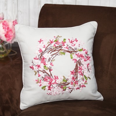 Blossom Wreath Ribbon Art Pillow