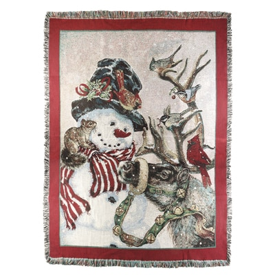 Snowman & Prancer Throw