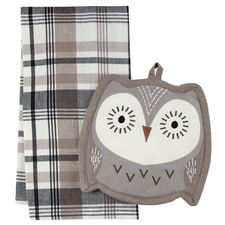 Owl Pot Holder & Towel