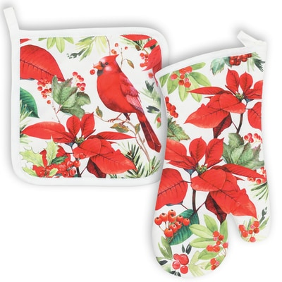 Poinsettia and Cardinal Kitchen Linen Set