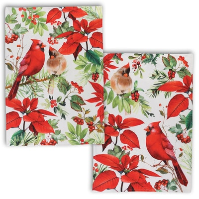 Poinsettia and Cardinals Towel Set