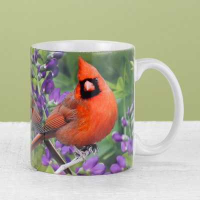 Cardinal and Purple Wildflowers Mug