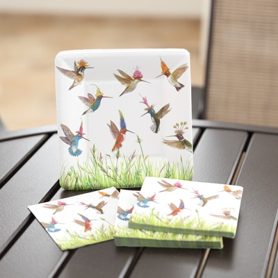Hummingbird Frenzy Small Plate & Napkin Set