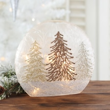Three Tone Trees Lighted Glass Globe