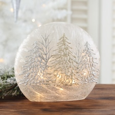 Silver & Gold Trees Lighted Glass Globe