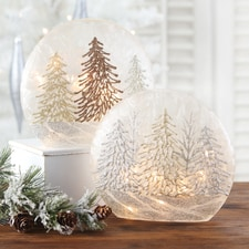 Trees Lighted Glass Globe Set