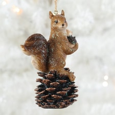 Squirrel on Pine Cone Ornament