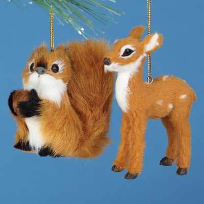 Squirrel and Deer Plush Ornament Set