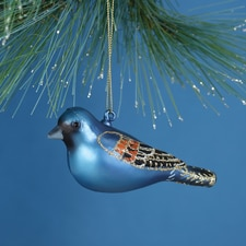 Blue Grosbeak Glass Ornament