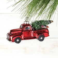 Red Truck and Tree Glass Ornament