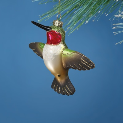 Male Flying Hummingbird Glass Ornament