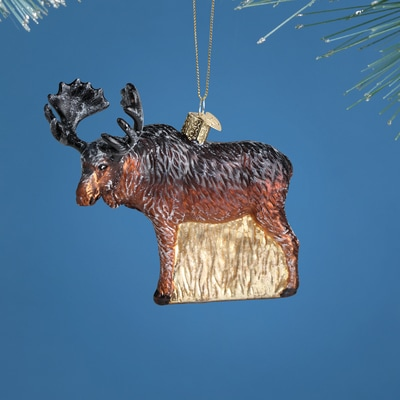Vintage Moose Glass Ornament