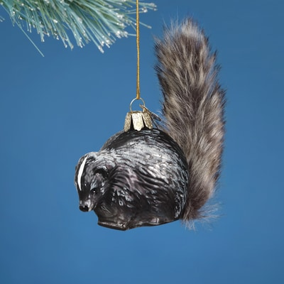 Vintage Skunk Glass Ornament