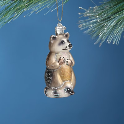 Raccoon Glass Ornament