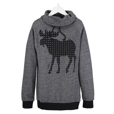 Moose Funnel Neck Pullover