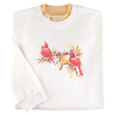 Watercolor Fall Cardinals Pullover