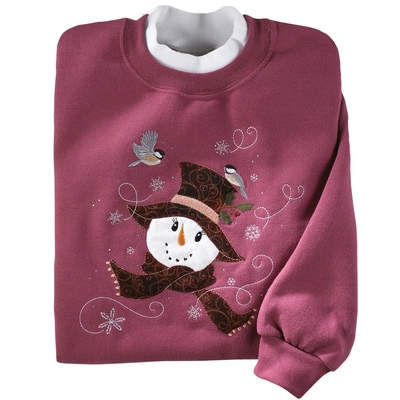 Snowman and Chickadees Pullover