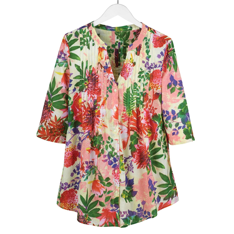 945b41efde9 Floral Pleated Tunic