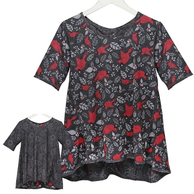 Cardinal & Flowers Reversible Tunic