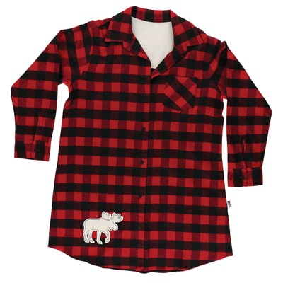 Moose Plaid Flannel Night Shirt